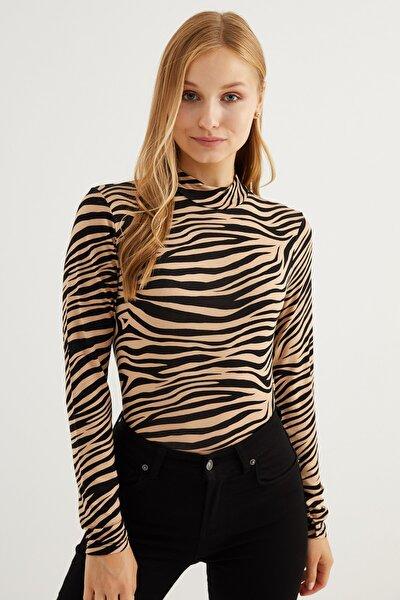 Kadın Camel Zebra Desenli Body