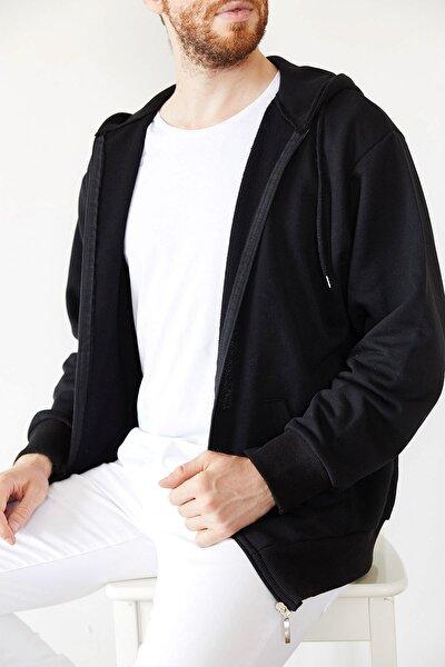 Erkek Siyah Fermuarlı Kapüşonlu Sweatshirt 1kxe8-44178-02