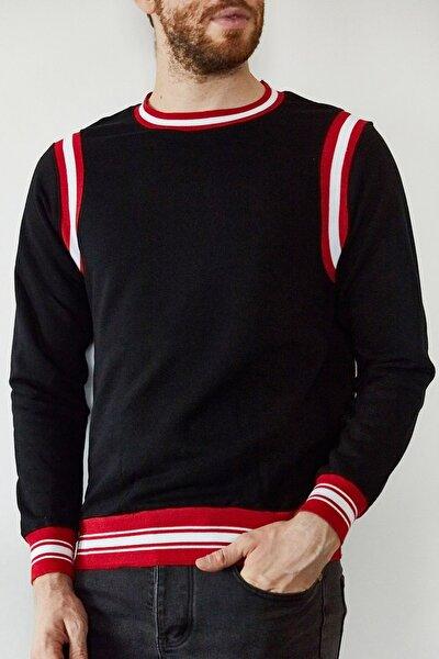 Erkek Siyah Kırmızı Şeritli Bisiklet Yaka Sweatshirt 1kxe8-44164-02