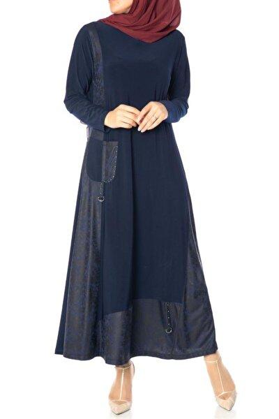 Kadın Lacivert Deri Cepli Elbise