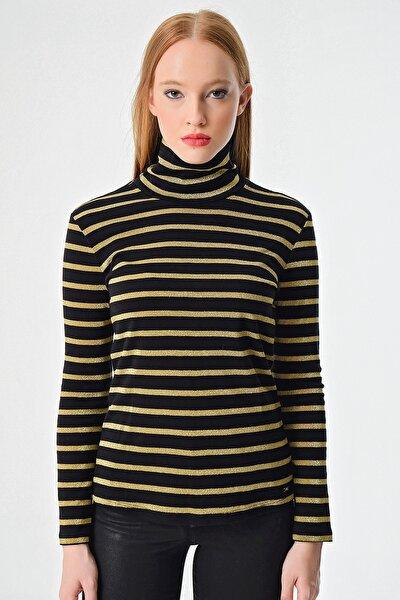 Kadın Siyah Boğazlı Sweatshirt