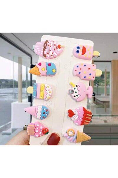 Kız Bebek pembe Dondurma Cupcake Çocuk Mini Toka Seti