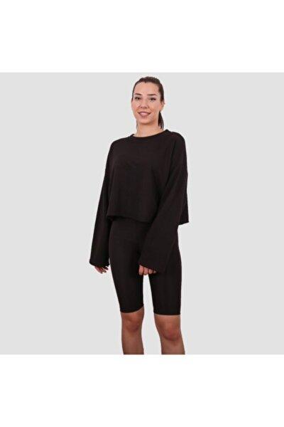 Kadın Siyah Basic Sweatshirt