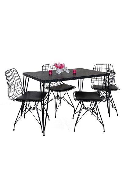 Yemek Masa Mutfak Masa Sandalye Takımı 4 Adet Tel Sandalye 1 Adet Masa