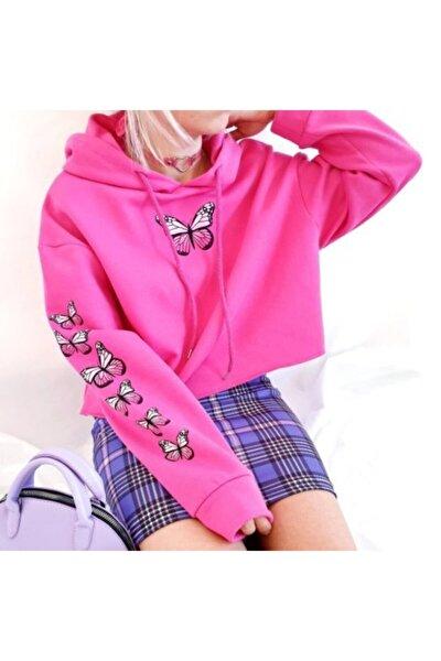 Kadın Pembe Kelebek Crop Sweatshirt