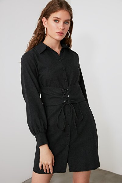 Antrasit Bel Detaylı Elbise TWOAW21EL1863
