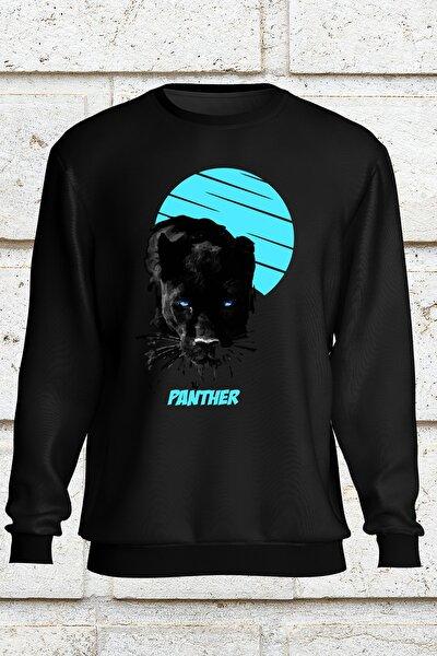 Unisex Siyah Kapşonsuz Sweatshirt Unisex Model  Panther
