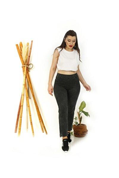 Kadın Siyah Yanı Taşlı Paça Detaylı Pantolon