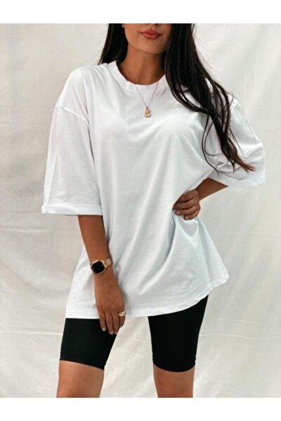Kadın Beyaz Ribana Yaka Bf Tshirt