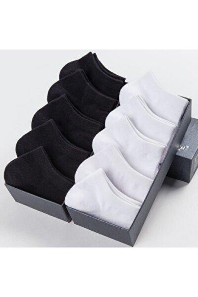 10 Çift Bambu Dikişsiz Siyah Beyaz Kadın Patik Çorap Bilek Boy