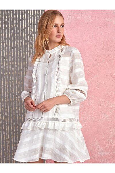 Kadın Ekru Volanlı Brode Mini Elbise N20Y-2217-0014