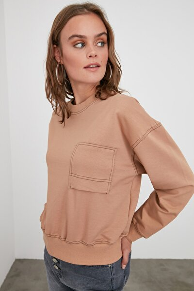 Camel Nakışlı ve Dikişli Örme Sweatshirt TWOAW21SW0966