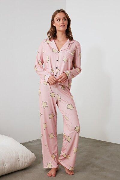 Pudra Yıldız Baskılı Örme Pijama Takımı THMAW21PT0456