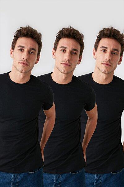 Siyah Erkek Basic 3'lü Tek Renk Paket Slim Fit T-Shirt - TMNSS19BO0006