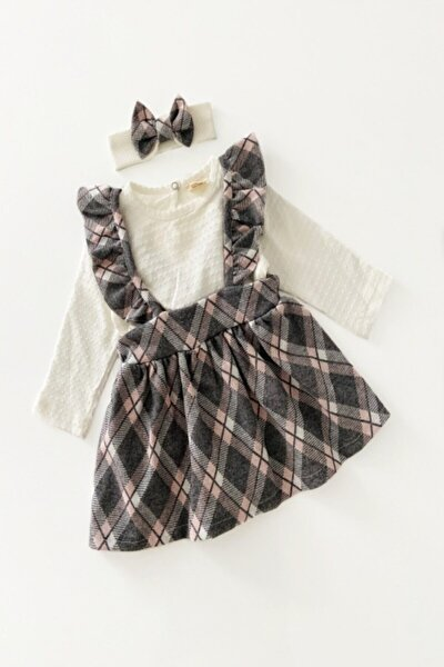 Kız Bebek Pudra Ekose Elbise 3 Parça