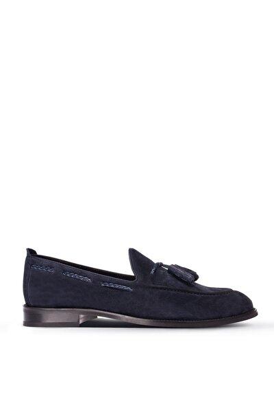Erkek Lacivert Hakiki Süet  Loafer Ayakkabı