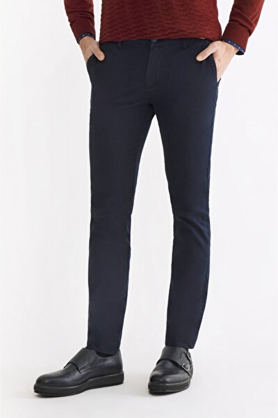 Erkek Lacivert Yandan Cepli Armürlü Slim Fit Pantolon A92Y3091