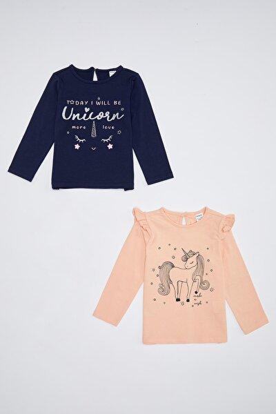 Kız Bebek Unicorn Baskılı Kol 2'li Tişört