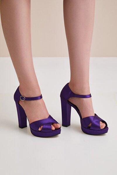 Kadın Mor Yüksek Dolgu Topuklu Saten Ayakkabı YASMIN BRIDAL