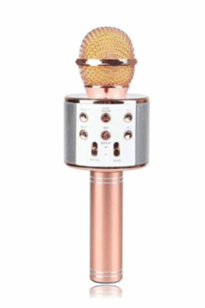 Karaoke Mikrofon Dahili Hoparlörlü Usb Flash Destekli Ws-858 Rose Gold