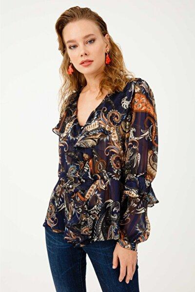 Kadın Lacivert Beli Kuşaklı Fırfırlı Desenli Bluz 03007