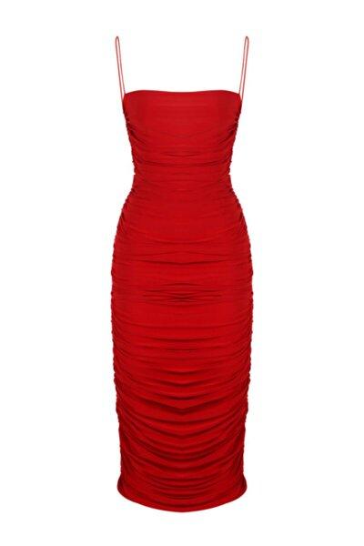 Kadın Kırmızı İnce Askılı Drapeli Midi Elbise