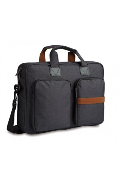 Double Business Gri Siyah 15,6 Inç Kumaş Laptop Notebook Çantası