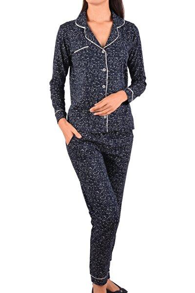 Kadın Lacivert Uzun Kollu Düğmeli Cepli Pamuk Pijama Takımı