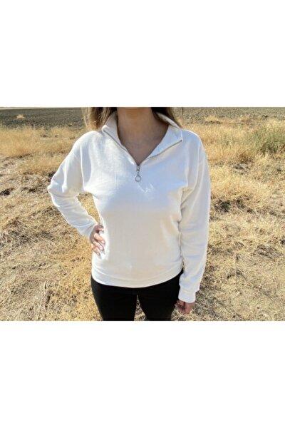 Kadın Ekru Dik Yaka Fermuarlı Sweatshirt