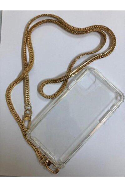 Iphone 11 Pro Max Şeffaf Boyun Askılı Altın Zincir Telefon Kılıfı