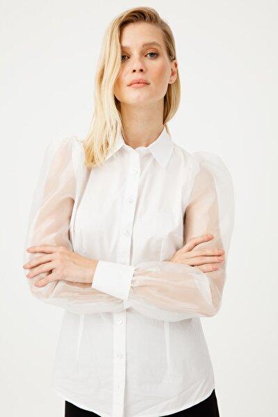 Kadın Beyaz  Kolları Organze Cot Gömlek