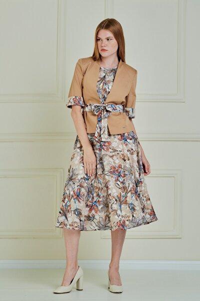 Çiçek Desenli Şifon Elbise Pamuk Kumaş Ceket Je90011
