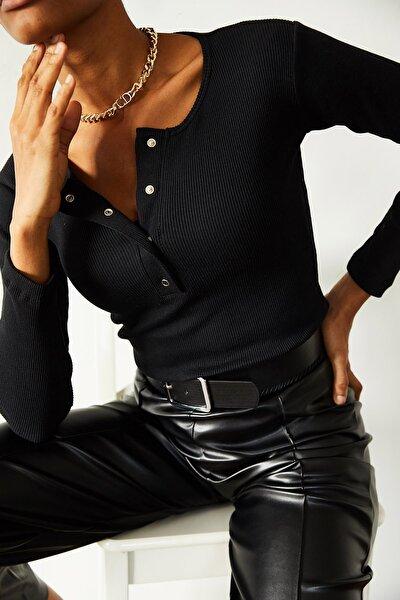 Kadın Siyah Patlı Kaşkorse Bluz 1KZK2-10768-02