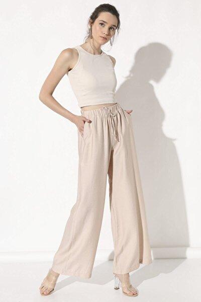 Kadın Bej Bol Paça Pantolon