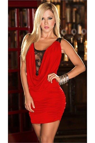 Kadın Kırmızı  Esnek Sandy Kumaş Dantel Detaylı Göğüs Dekolteli Fantezi Gecelik