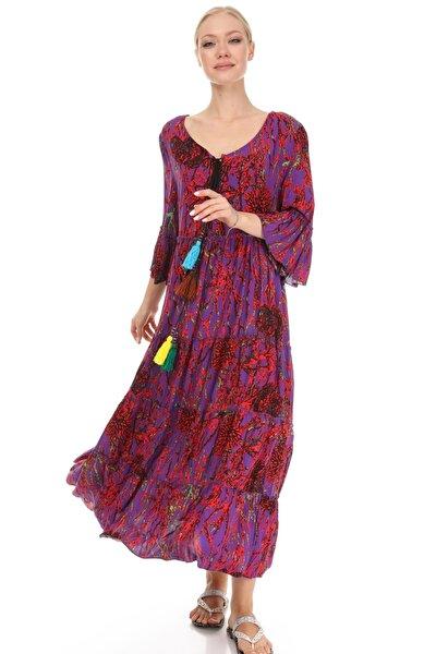Kadın Mor Bohem Mercan Desenli El Işi Püskül Detaylı Salaş Elbise