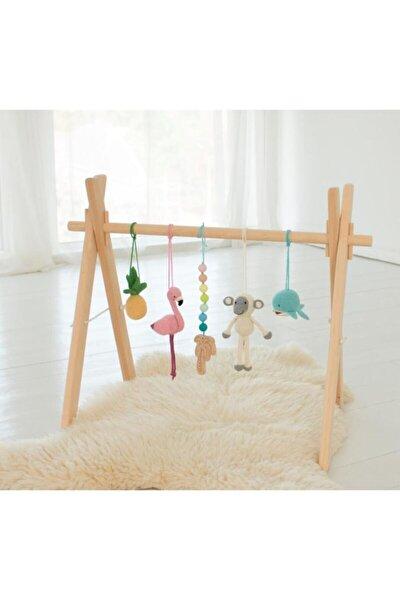 Doğal Ahşap Bebek Egzersiz Aleti Oyun Alanı