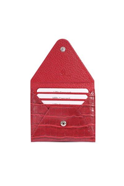 Unisex Kırmızı Zarf Kapaklı Croco Kartlık