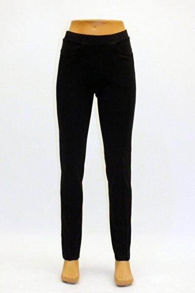 Kadın Siyah 5 Cepli Yan Küpür Şeritli Tayt Pantolon