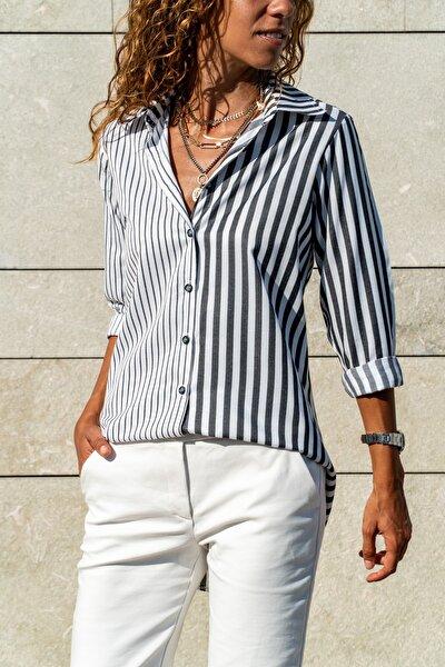 Kadın Siyah-Beyaz Multi Çizgili Salaş Gömlek GK-CCK60013