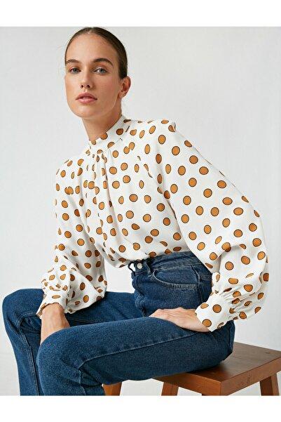 Kadın Beyaz Mandarin Yaka Puantiyeli Uzun Kollu Bluz