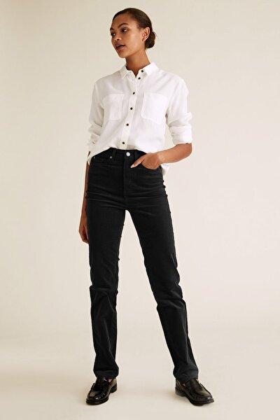 Kadın Siyah Kadife Straight Leg Pantolon T57007906