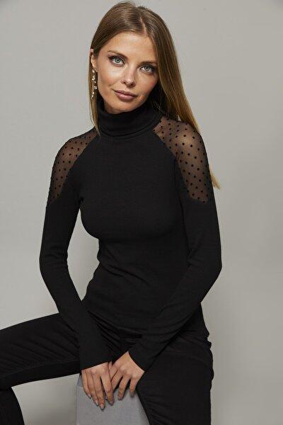 Kadın Siyah Omuzları Puantiyeli Tül Bluz EY1098