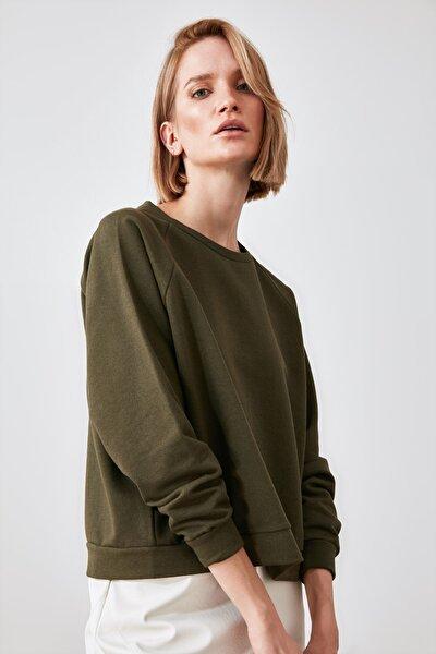 Haki Basic Örme Sweatshirt TWOAW20SW0055
