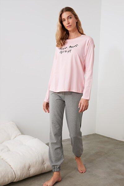 Sloganlı Örme Pijama Takımı THMAW21PT0571