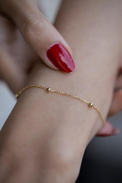Kadın Top Model Gold Zincir Bileklik Ebr6002