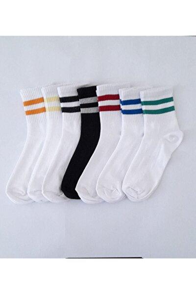Unisex Beyaz Çizgili Pamuklu Yarım Konç Çorap 7 Li