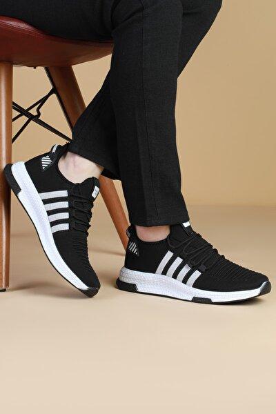 Unisex Siyah Beyaz Rahat Spor Ayakkabı