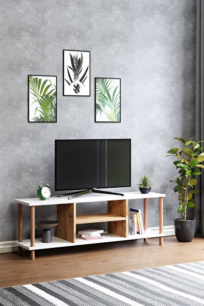 Tv Sehpası Raflı Tv Ünitesi Televizyon Sehpası Ahşap Ayaklı Beyaz - Çam Raflı