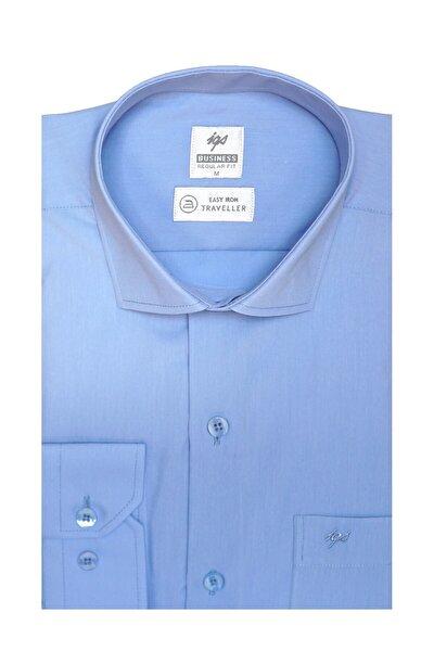 Erkek A.mavi Regularfıt / Rahat Kalıp 7 Cm Klasik Gömlek